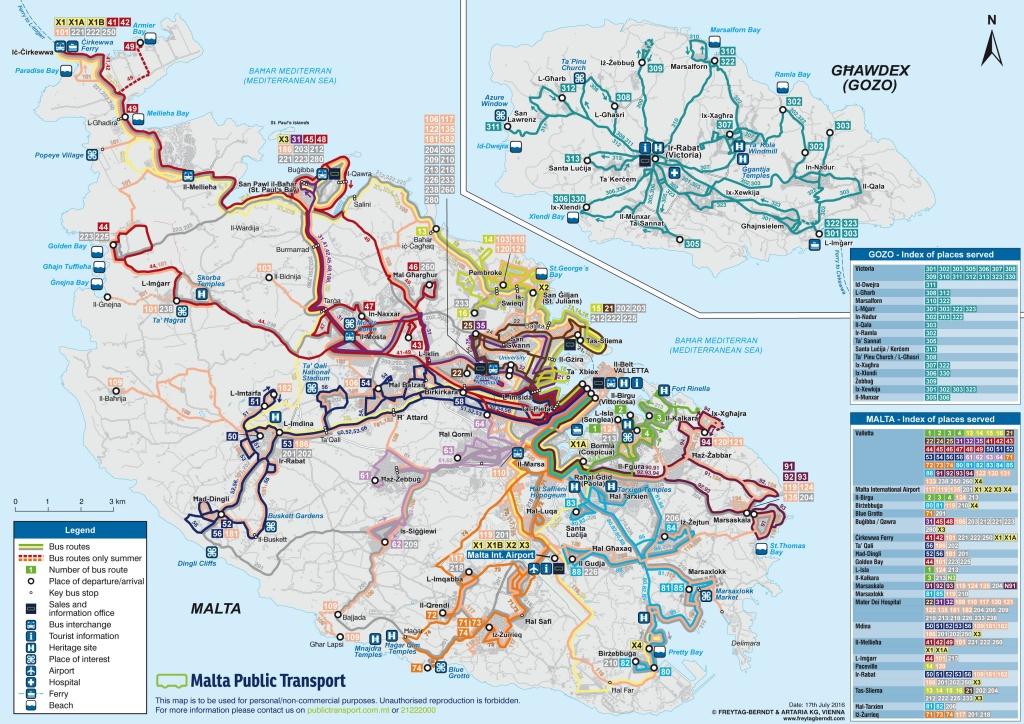 Mapa linii busa na Malcie. Malta, transport publiczny.