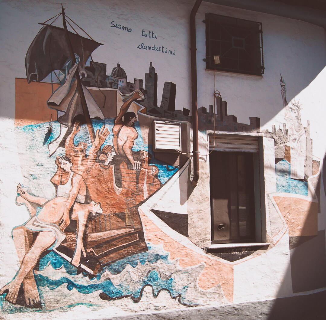 Historia na muralu.